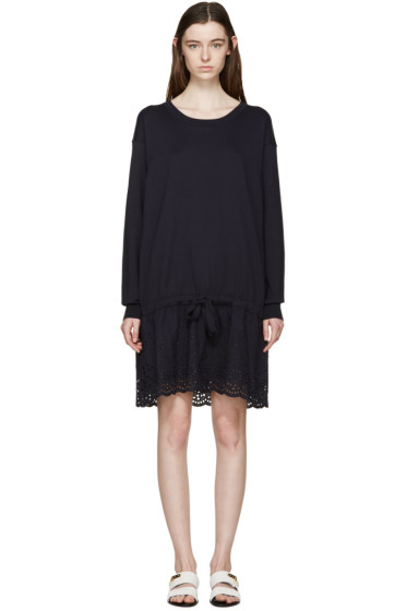 See by Chloé - Navy Broderie Anglaise Knit Dress