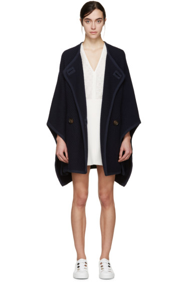 See by Chloé - Navy Wool Cape Coat