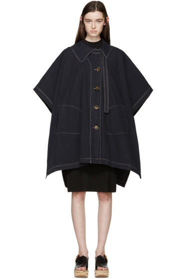 See by Chloé - Navy Oversized Cape Coat