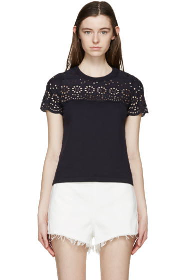 See by Chloé - Navy Broderie Anglaise T-Shirt