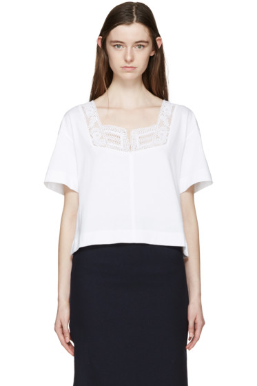 See by Chloé - White Broderie Anglaise T-Shirt