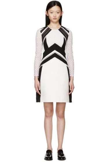 Burberry Prorsum - White & Black Patchwork Lace Dress