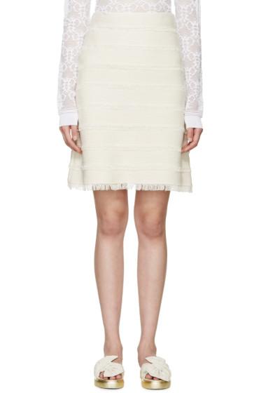 Burberry Prorsum - Cream Silk Fringed Knit Skirt