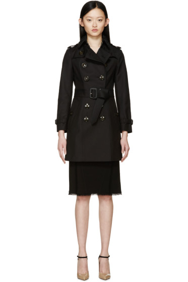Burberry Prorsum - Black Lace Collar Classic Trench Coat