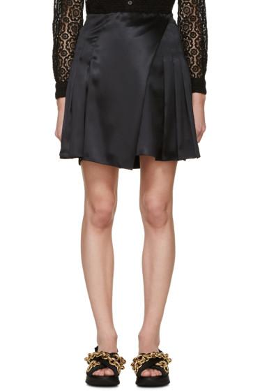 Burberry Prorsum - Black Silk Pleated Wrap Skirt
