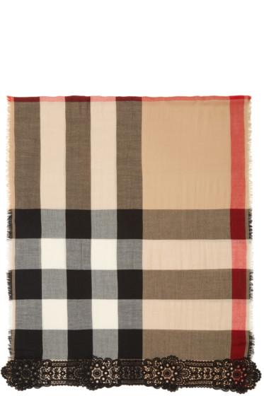 Burberry Prorsum - Camel & Black Cashmere Check Lace Scarf