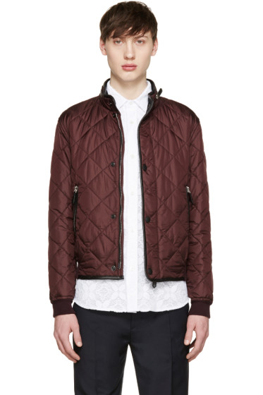 Burberry Prorsum - Burgundy Quilted Bomber Jacket