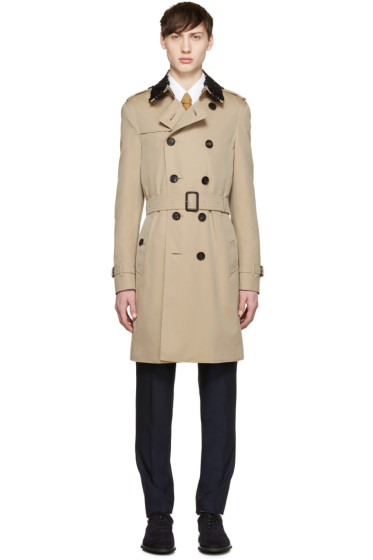 Burberry Prorsum - Tan Detachable Lace Collar Trench Coat