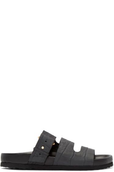 Pierre Hardy - Black Croc-Embossed BirkChic Sandals