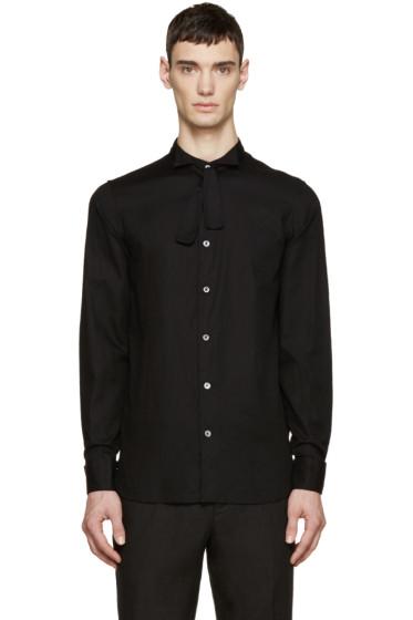 Ann Demeulemeester - Black Deconstructed Tuxedo Shirt