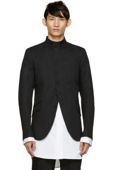 Ann Demeulemeester - Black Band Collar Blazer