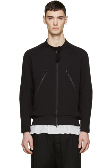 Ann Demeulemeester - Black Zip-Up Sweatshirt
