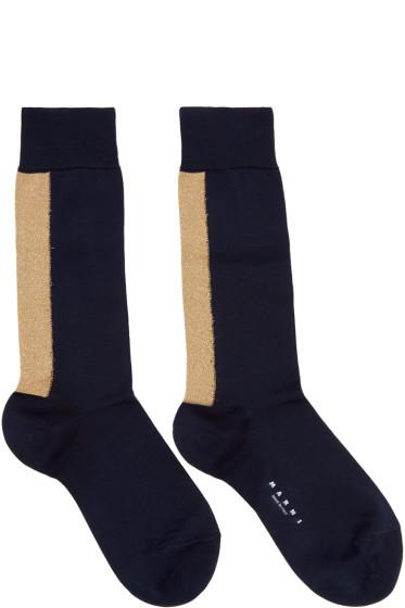 Marni - Navy Metallic Stripe Socks