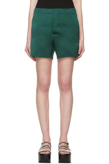 Marni - Green Silk Satin Shorts