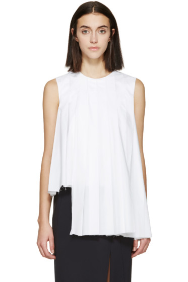 Marni - White Asymmetric Pleated Poplin Top