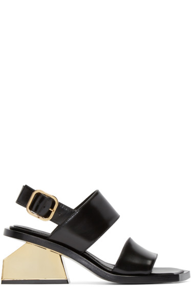 Marni - Black & Gold Leather Sandals