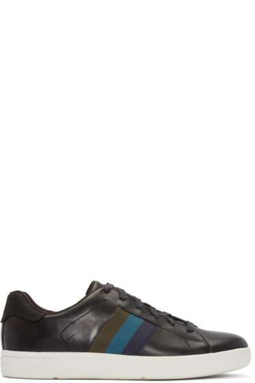 Paul Smith Jeans - Black Leather Lawn Low-Top Sneakers