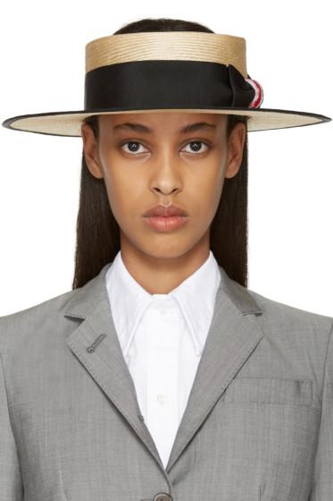 Thom Browne - Beige Straw Boater Hat