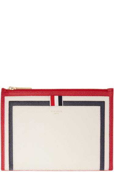 Thom Browne - Tricolor Leather Large Pouch