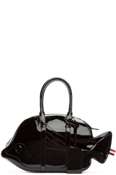 Thom Browne - Black Patent Leather Trigger Reef Fish Duffle Bag