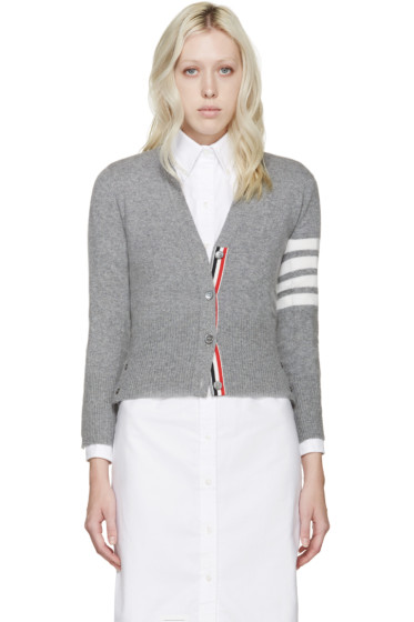Thom Browne - Grey Cashmere Striped Armband Cardigan