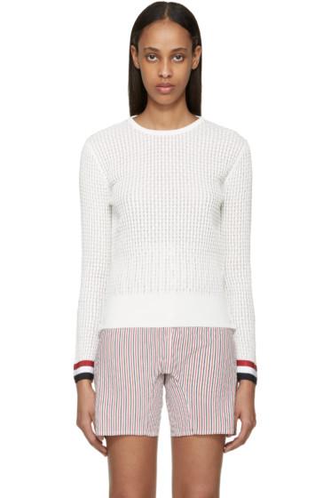 Thom Browne - White Ripple Stitch Sweater
