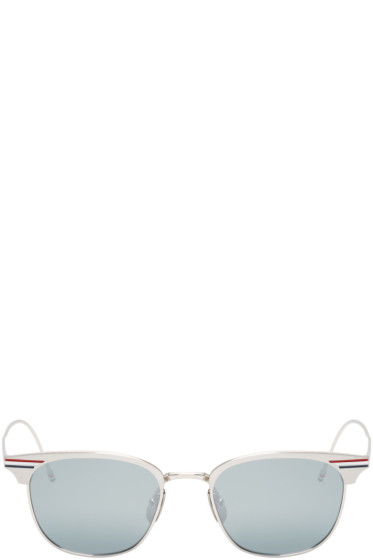 Thom Browne - Silver Horn-Rimmed Sunglasses