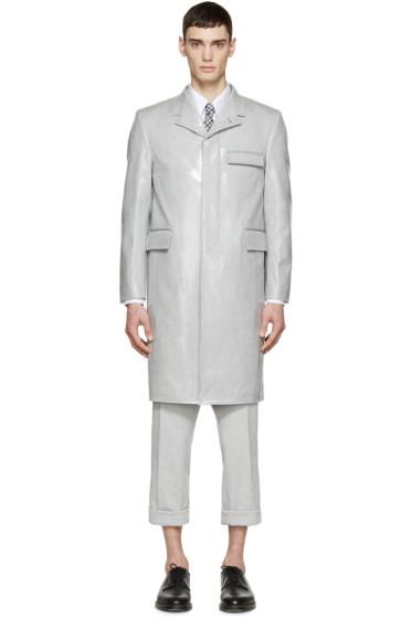 Thom Browne - Grey Laminated Long Coat