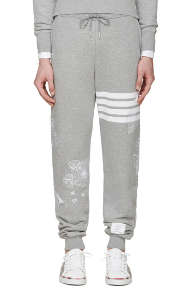 Thom Browne - Grey Koi & Chrysanthemum Lounge Pants