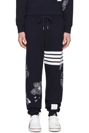Thom Browne - Navy Koi & Chrysanthemum Lounge Pants