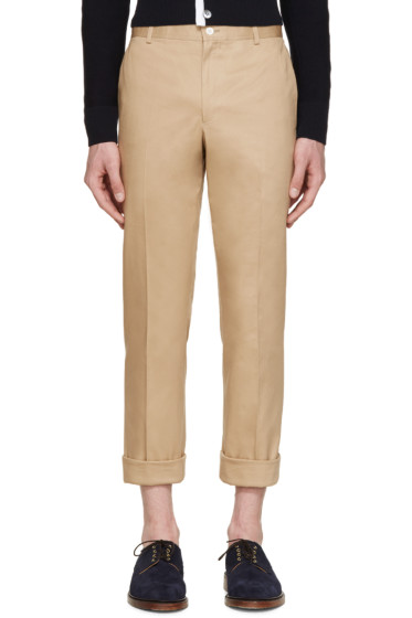 Thom Browne - Tan Cotton Twill Trousers