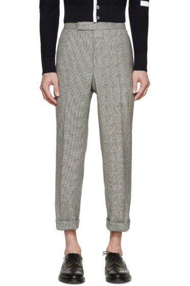 Thom Browne - Black & Ivory Prince of Wales Trousers