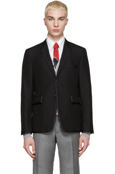 Thom Browne - Black Wool Grosgrain Trim Blazer