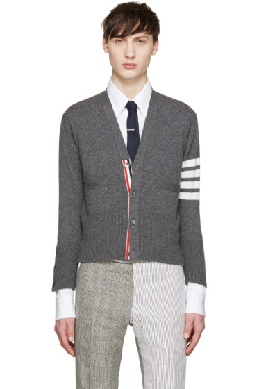 Thom Browne - Grey Cashmere Striped Armband Cardigan