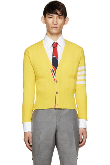 Thom Browne - Yellow Cashmere Striped Armband Cardigan