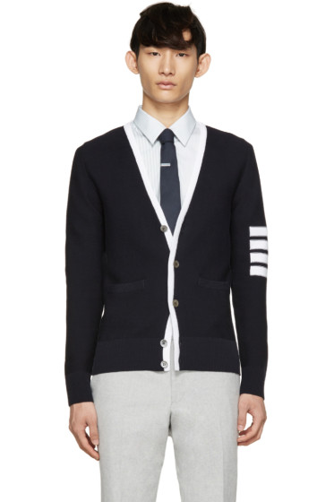 Thom Browne - Navy & White Striped Armband Cardigan