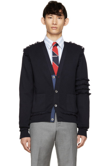 Thom Browne - Navy Wool Fringed Armband Cardigan
