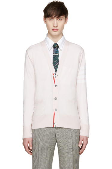 Thom Browne - Pink Merino Striped Armband Cardigan