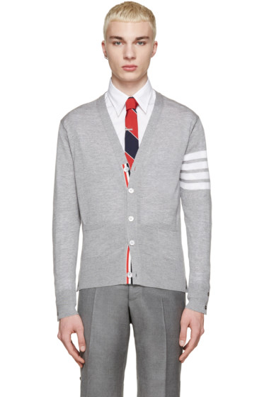 Thom Browne - Grey Wool Striped Armband Cardigan