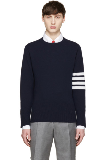 Thom Browne - Navy Cashmere Striped Armband Pullover
