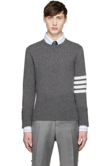 Thom Browne - Grey Cashmere Striped Armband Pullover