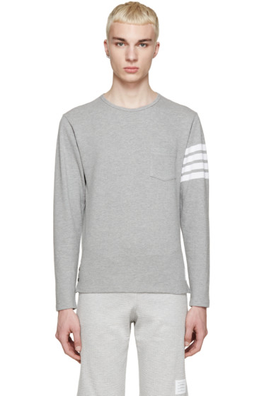 Thom Browne - Grey Piqué Striped Armband Pullover