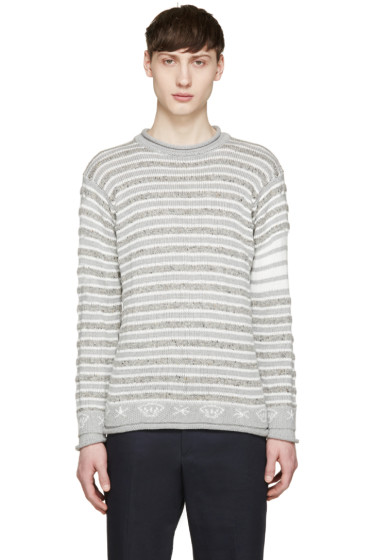 Thom Browne - Grey Stripes and Shell Sweater
