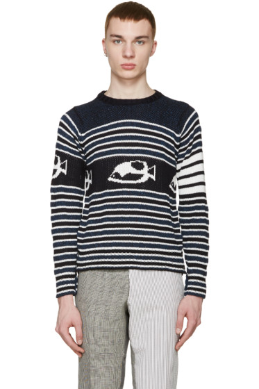 Thom Browne - Navy & White Striped Fish Sweater
