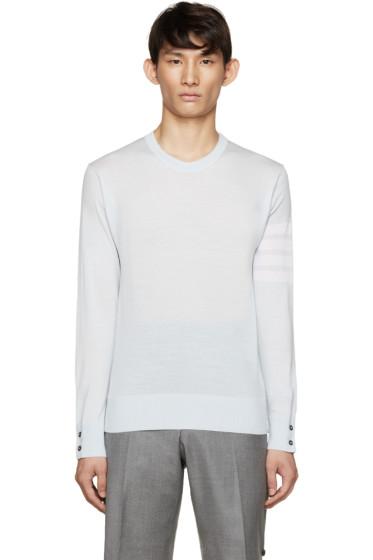 Thom Browne - Blue Wool Striped Armband Sweater