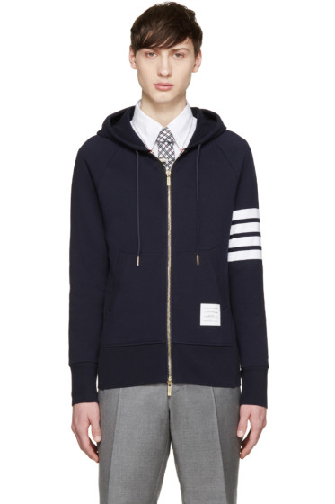 Thom Browne - Navy Striped Armband Hoodie
