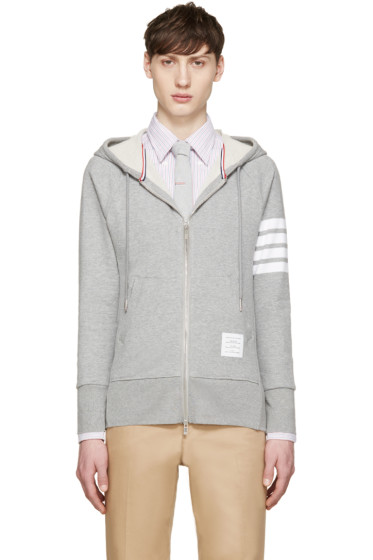 Thom Browne - Grey Striped Armband Hoodie