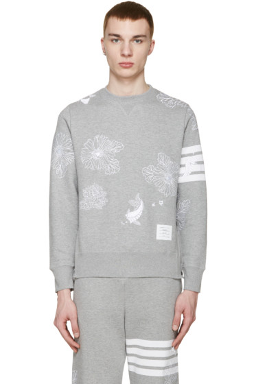 Thom Browne - Grey Koi & Chrysanthemum Pullover