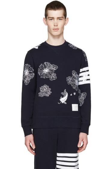 Thom Browne - Navy Koi & Chrysanthemum Pullover