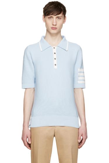 Thom Browne - Blue Knit Striped Armband Polo
